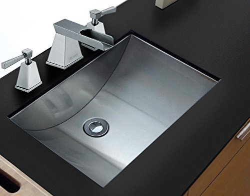 (Ruvati RVH6110 Brushed Stainless Steel Bathroom Undermount Sink, Stainless Steel)