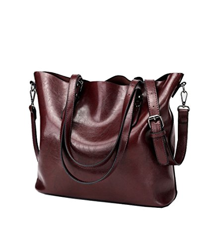 Ecokaki Women's Vintage Large PU Leather Travel Handbag Hobo Bag Shoulder Bag Sling Bag Cross Body Bag Dark Red by Ecokaki