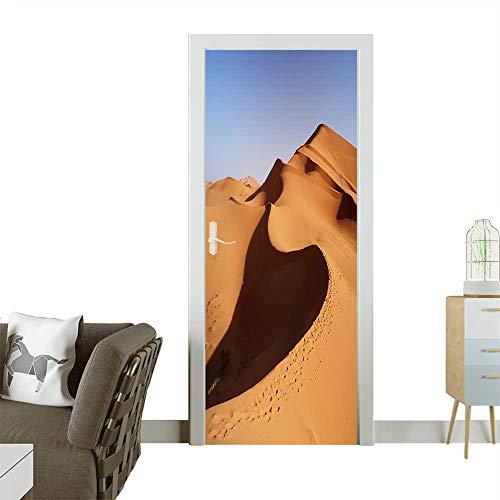 Homesonne Decorative Door Decal Morocco Sand Dunes of Sahara Desert Stick The Picture on The Door W32 x H80 INCH