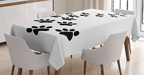 - Lunarable Animal Tablecloth, Monochrome Paw Print Illustration Kitten and Dog Pet Themed Abstract Silhouettes, Dining Room Kitchen Rectangular Table Cover, 52