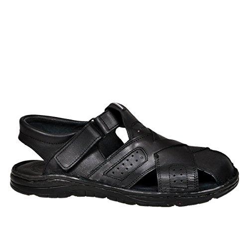 Lukpol Herren Bequeme Sandalen Schuhe mit der Orthopadischen Einlage Aus Echtem Buffelleder Hausschuhe Modell 867 Schwarz