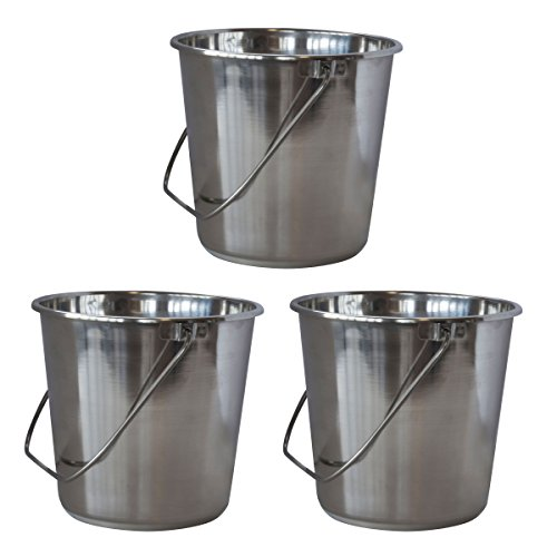SSB528SET Xlarge Stainless Steel Bucket Set - 3Piece