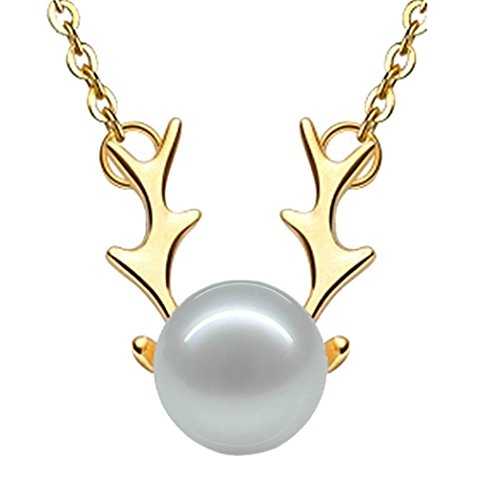 Pink Universe Pearl Antlers Pendant Necklace 17.7 Inch (Golden Pink Pearl Necklace)