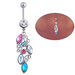 coromose® 1PC Mixed Color Rhinestone Jewelry Navel Body Piercing Belly Button Rings