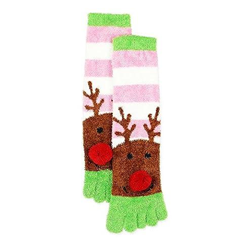 Joe Boxer Girls Holiday Christmas Fuzzy Toe Socks (6-8 (Shoe: 10.5-4), Reindeer Pink/Green) - Childrens Toe Socks
