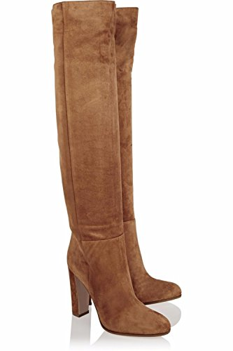 NVXIE Women Ladies Over Knee Thigh Knight Boots Rough High Heel Shoes Brown Suede Round Head Spring Autumn Winter BROWN-EUR36UK354 cQFzZK
