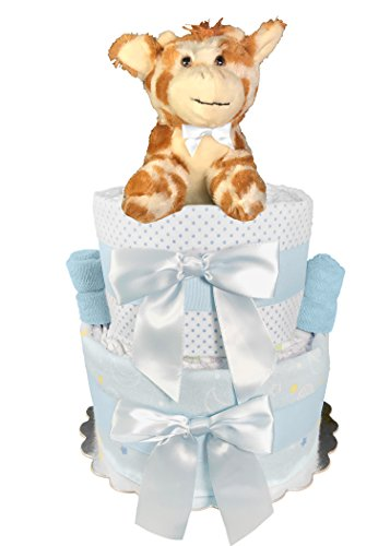 Giraffe Diaper Cake for a Boy - Baby Shower Centerpiece Gift Set