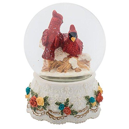 Sculptured Red Cardinal Pair Snow Globe -