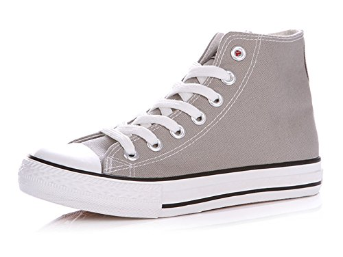 Sfnld Hombres Mujeres Spring Fall Classic High Top Zapatos De Lona Sneaker Gris