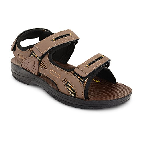 New Mens Nubuck Leather Velcro Strap Sports Walking Open Toe Sandals Brisbane Brown
