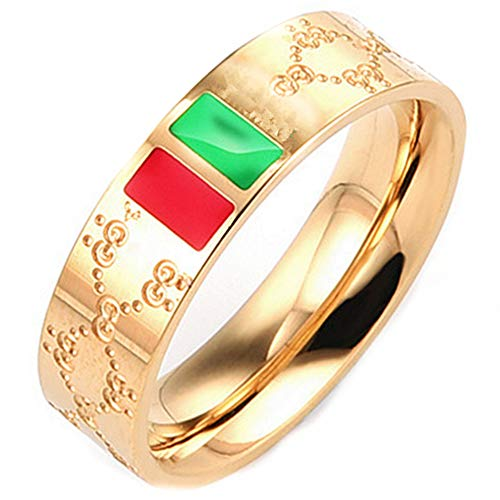 (Fly.Dream Fashion Luxury Shine Celebrity Ring Classic Red and Green Bar Titanium Steel Ring (Gold, 9))