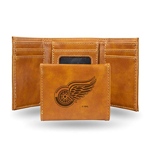 Rico Industries NHL Detroit Red Wings Laser Engraved Tri-Fold Wallet, Brown