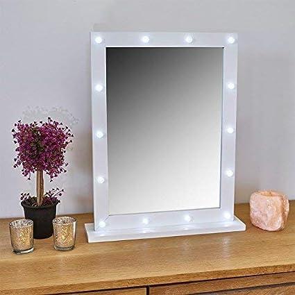 993de6f612c garden mile Gadgetzone® White Free Standing Hollywood Mirror Make Up Light  Up Illuminated Mirror 14