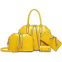 Whoishe174; Women's Leatherette Yellow Occident Style 4 Pieces in a Lots Shoulder Handbags with Clutch