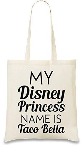 My Disney Princess Name Is Taco Bella Funny Slogan Personalizado Impreso Bolso De Mano Bolsa De La Compra