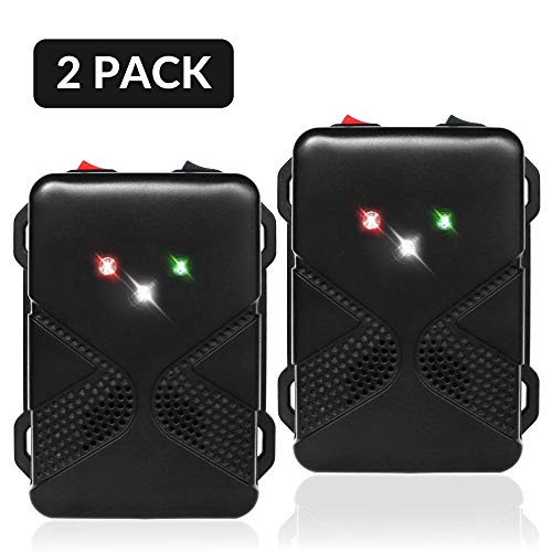 Loraffe Pack of 2 LED Rodent Strobe Light Battery Operated Ultrasound Device Keep Rats Mice Away from Your Car Engine Truck Garage Attic Basement Warehouse Barn Shed Under Hood Vehicle Protection (Animal Repellant Devices)