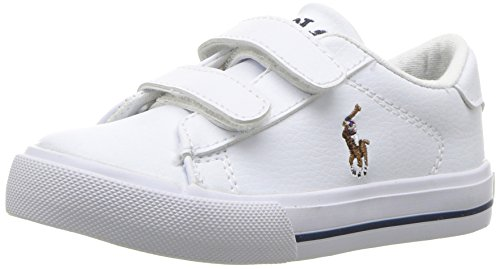 Polo Ralph Lauren Kids Baby Easton II EZ Sneaker, White Tumbled Multi pop, 6.5 Medium US Toddler