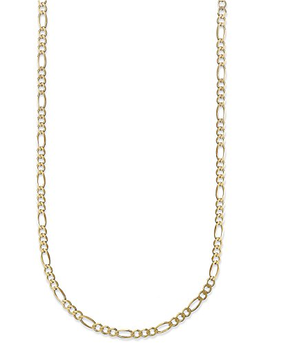 18K Gold 2.3mm Figaro Link Chain Bracelet or Necklace - Made In Italy (Yellow, 30) (Solid Gold Figaro Chain For Men)