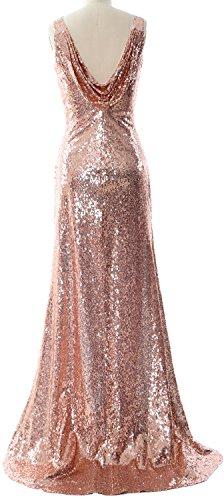 Gown Dunkelmarine Sheath Formal Cowl Women Dress Sequin Back Evening Bridesmaid MACloth Long vx6qOgwf