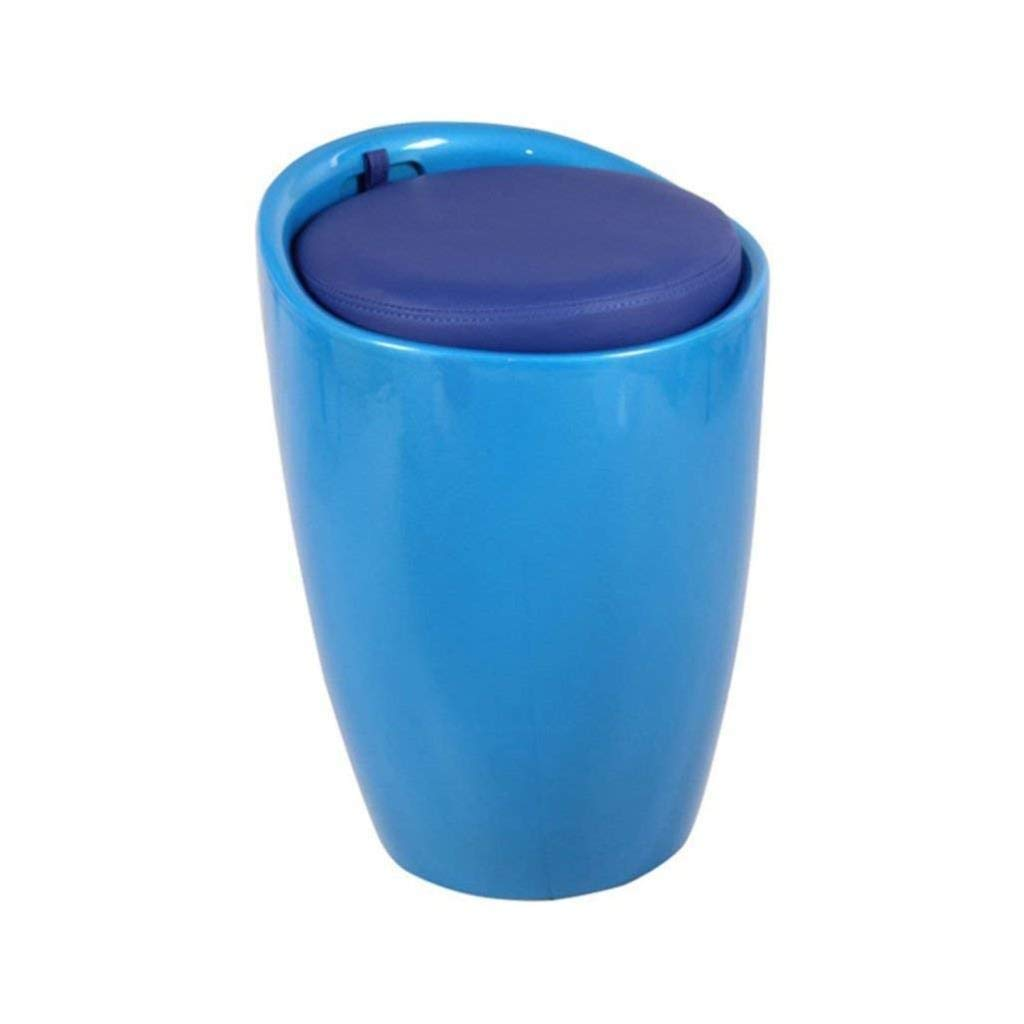 Shoe Bench, Footstool, Makeup Stool, Round Storage PU Leather Seat, Multi-Function with Stool, Blue, Can Be Used in The Living Room Bedroom Corridor, Load Capacity 150KG by CS-JZ