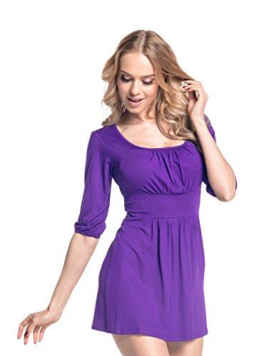 Glamour Empire De Las Mujeres Acanalada Jersey Túnica Superior Extra Corto Vestido 940 Púrpura