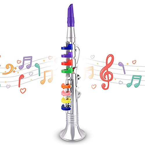 Children's Clarinet for Beginners – Toy Musical Instrument for Kids with 8 Color Coded Keys – Lead Free & BPA Free