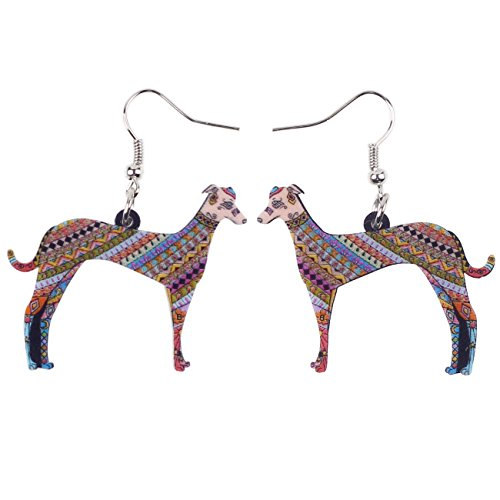 - BONSNY Acrylic Drop Greyhound Dog Pets Earrings Funny Design Lovely Gift for Girl Women Fashion Jewelry (Multicolor)