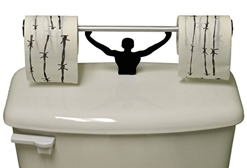 Fairly Odd Novelties Barbed Wire Toilet Paper W/ Strong Man Holder Novelty Gift Set