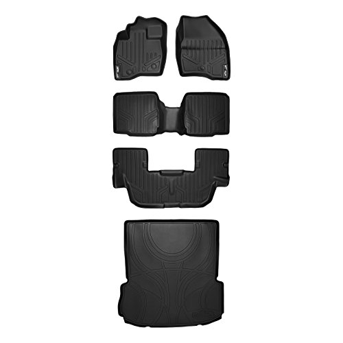 MAX LINER A0245/B0109/C0082/D0082 Black Floor Mat ((3 Set) and MAXTRAY Cargo Liner for Ford Explorer with 2nd Row Center Console)