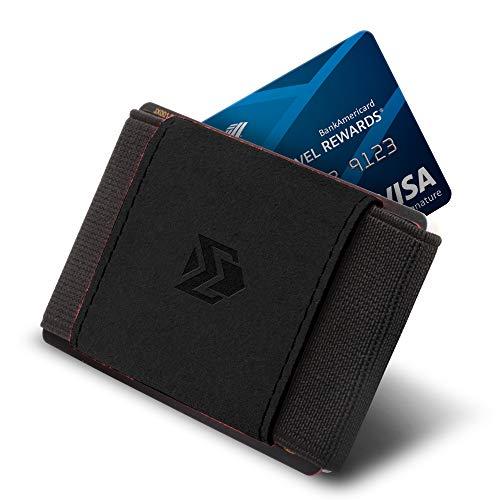 Ebax Minimalist Slim Wallet For Men Women - Elastic Front Pocket Credit Card Holder Wallet (Dark Black)