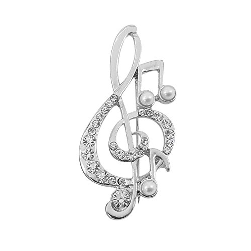 JUESJ Music Note Design Brooches Cubic Zirconia Crystal Broches Broach Fashion Jewelry Bijoux Feminino Accessories -