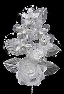White Sheer Silk Corsage Wedding Rose Picks - Package of 6
