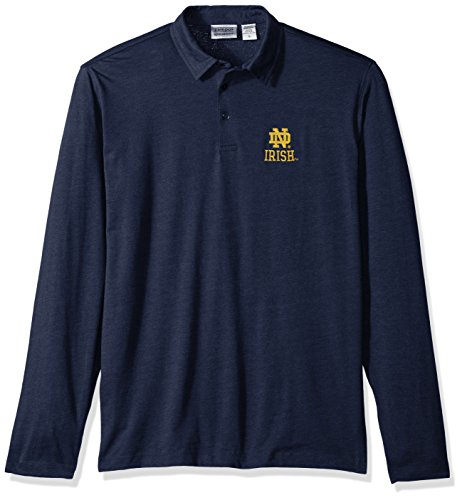 NCAA Notre Dame Fighting Irish Men's Campus Specialties Long Sleeve Polo Shirt, Heather Blue, Large