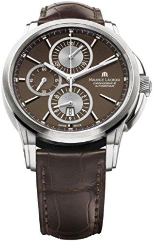 maurice-lacroix-mens-pt6188-ss001730-pontos-pontos-chronograph-brown-strap-watch