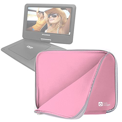DURAGADGET Pink 12 Water & Shock Resistant Neoprene Laptop Case - Compatible with The Sylvania 9-Inch Swivel Screen DVD/CD/MP3Portable DVD Player