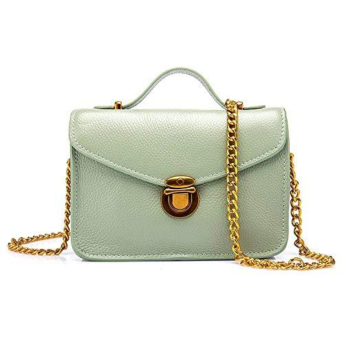 taglia colore verde Leather Verde grigia Fashion Women Catena alta Portafoglio Metallo capacità Moontang Bag Borse Girls ad Messenger qw61TEZax