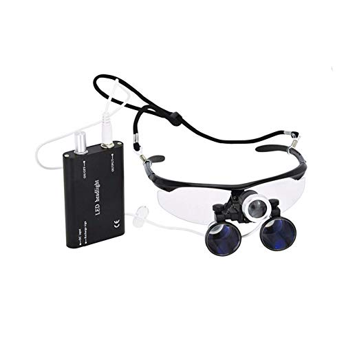2.5X/3.5X 420mm Magnification Binocular Dental Loupe Surgery Surgical Magnifier with Headlight LED Light Dental Loupes