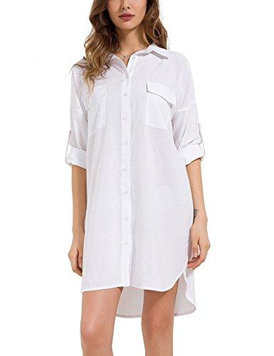 MOQUEEN Womens Button Down Boyfriend Shirt Dress Long Sleeve Basic Blouse Tunic