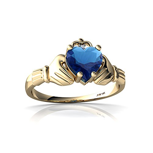 14kt Gold London Blue Topaz and Diamond 6mm Heart Claddagh Ring