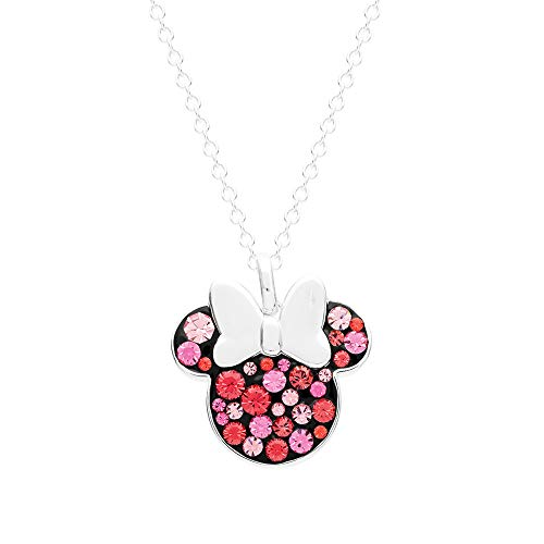 (Disney Minnie Mouse Jewelry for Women and Girls, Silver Plated Pave Crystal Pendant Necklace, Mickey's 90th Birthday Celebration)