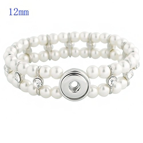 Lovmoment Bracelets Fit 12MM Charms Snaps Handmade Bracelets with Pearls and Rhinestones Snap Jewelry (White) (Charms Pearl Rhinestones)