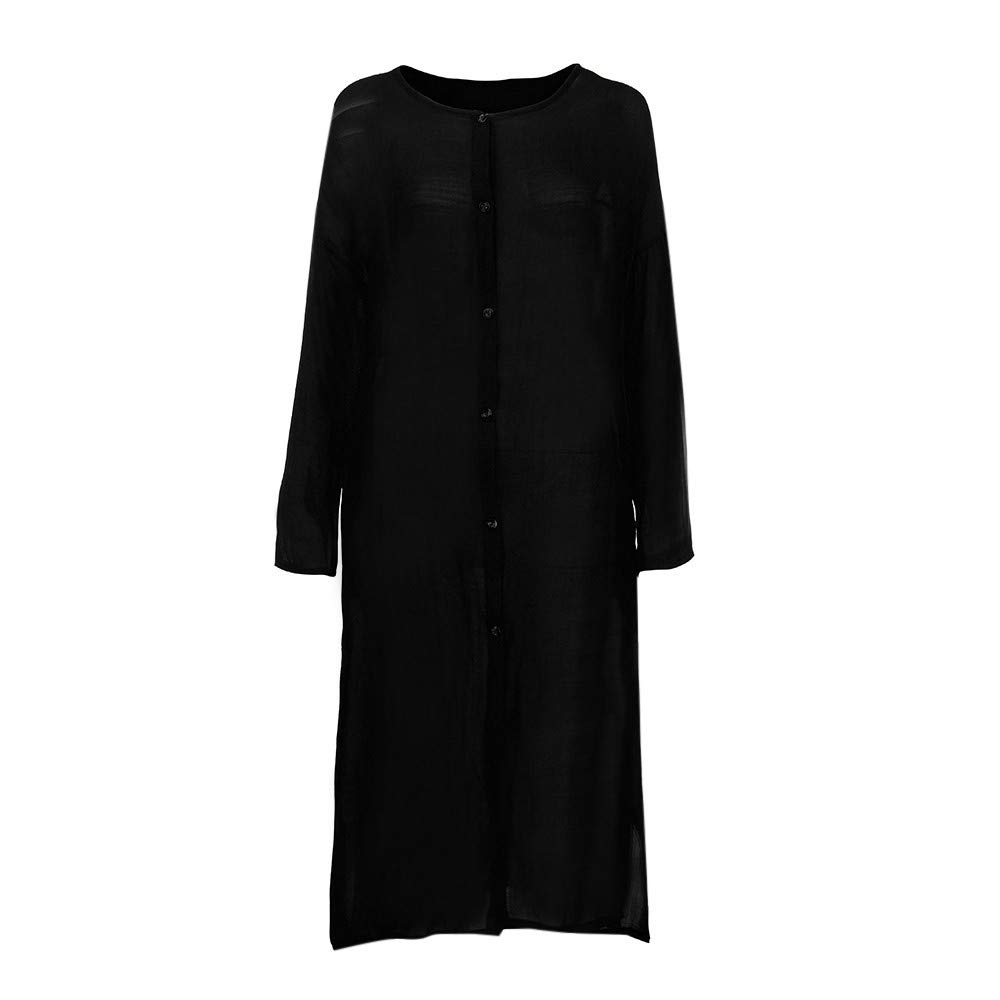 Pervobs Clearance Sale! Women Winter Thick Warm Casual Parka Jacket Lapel Solid Long Coat Parka Outwear Overcoat(US:8-L, Black)