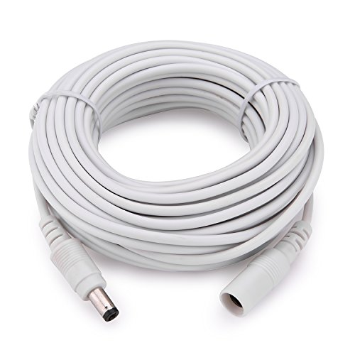 WildHD Power Extension Cable 33ft 2.1mm x 5.5mm Compatible with 12V DC Adapter Cord for CCTV Security Camera IP Camera Standalone DVR (33ft,DC5.5mm Plug White)