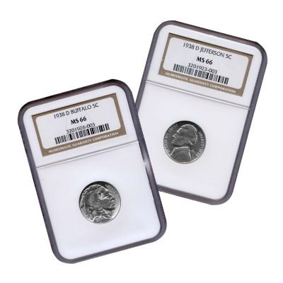 1938-D Jefferson & Buffalo Nickels Two Coin Set MS66 NGC ()