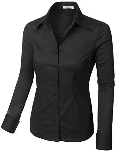 c29b0d0c34c8 LE3NO Womens Tailored Long Sleeve Button Down Shirt with Stretch - Buy  Online in Oman.