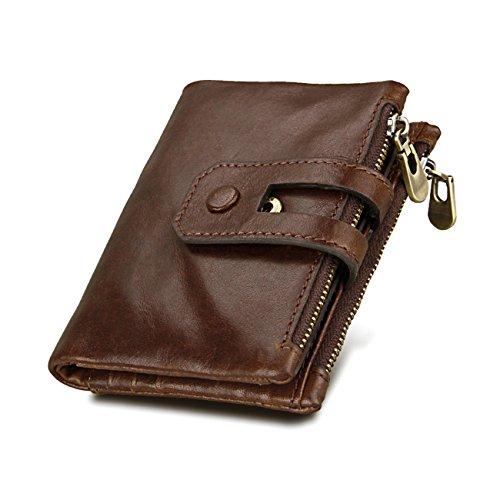 Wallet for Men,RFID Men's Wallet Genuine Leather Blocking First Layer-Credit Card Holder with ID Window,Anti-theft Protector,Bifold Vintage Natural Skin Purse(Coffee) ()