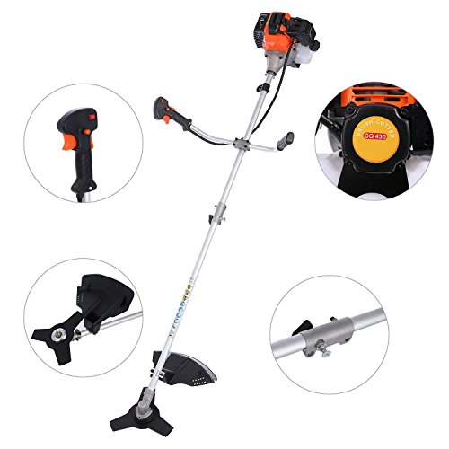 Lantusi 43cc 2-Cycle Gas Powered Straight Shaft Trimmer Brush Cutter Combo with Adjustable J-Handle for Grass Trimming by Lantusi