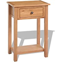 Solid Oak Tall Nightstand Bedside w/Drawer