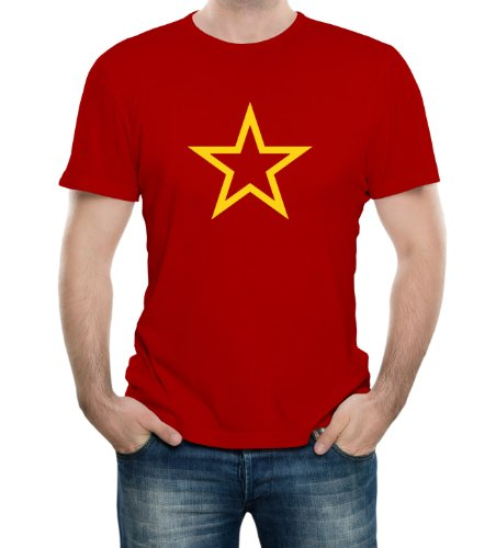 Red Army Soviet USSR CCCP Star Red Adult T-Shirt - Large Red (Soviet Star Ussr T-shirt)