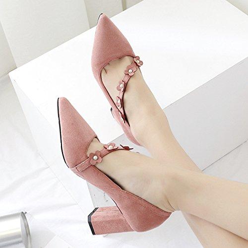 Yalanshop lumière Embout à pointe unique Chaussures avec Bold satiné lumière Pointe Buse simple Chaussures à talons hauts Noir Chaussures à talons hauts, Rose 39